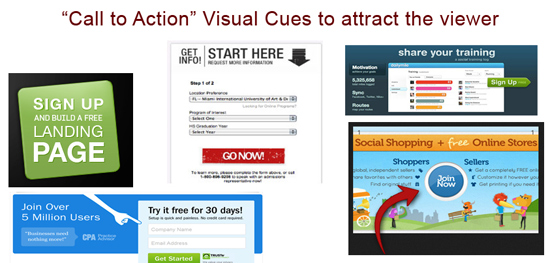 Visual cues for CTA - call to action buttons